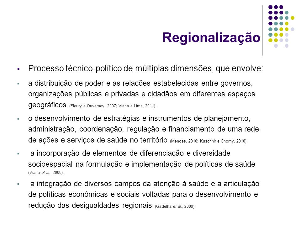 RegionalizaçãoProcesso técnico-político de múltiplas dimensões, que envolve: