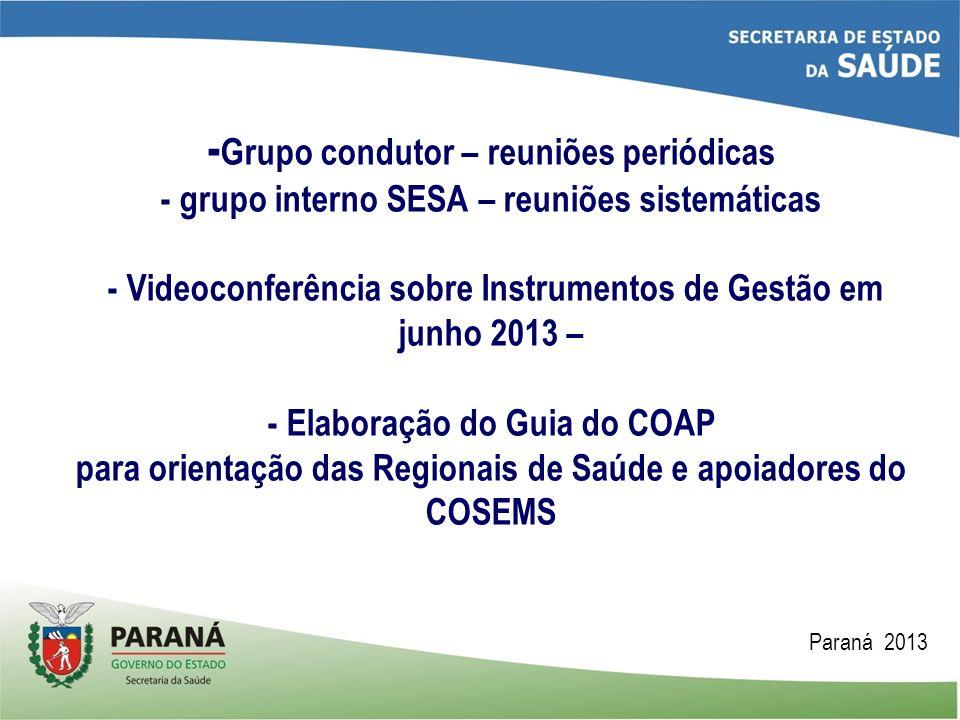 -Grupo condutor – reuniões periódicas - grupo interno SESA – reuniões sistemáticas - Videoconferência sobre Instrumentos de Gestão em junho 2013 – - Elaboração do Guia do COAP para orientação das Regionais de Saúde e apoiadores do COSEMS