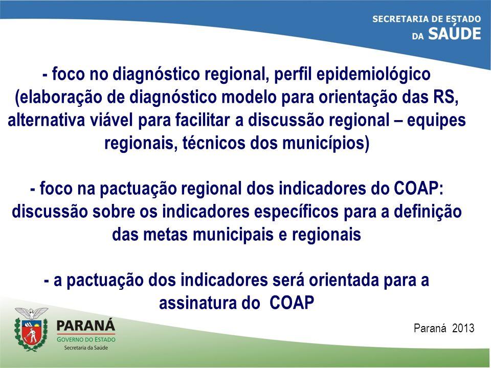 - foco no diagnóstico regional, perfil epidemiológico (elaboração de diagnóstico modelo para orientação das RS, alternativa viável para facilitar a discussão regional – equipes regionais, técnicos dos municípios) - foco na pactuação regional dos indicadores do COAP: discussão sobre os indicadores específicos para a definição das metas municipais e regionais - a pactuação dos indicadores será orientada para a assinatura do COAP