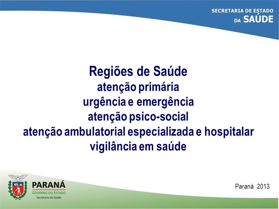 Regiões de Saúde atenção primária urgência e emergência atenção psico-social atenção ambulatorial especializada e hospitalar vigilância em saúde