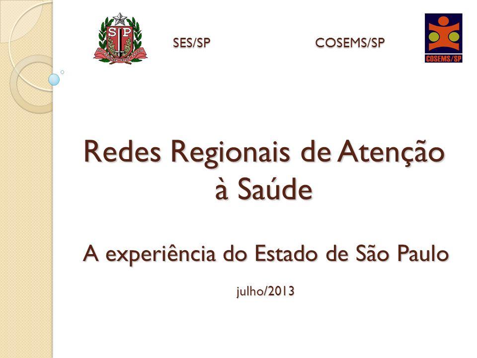 SES/SP COSEMS/SP Redes Regionais de Atenção à Saúde A experiência do Estado de São Paulo julho/2013.