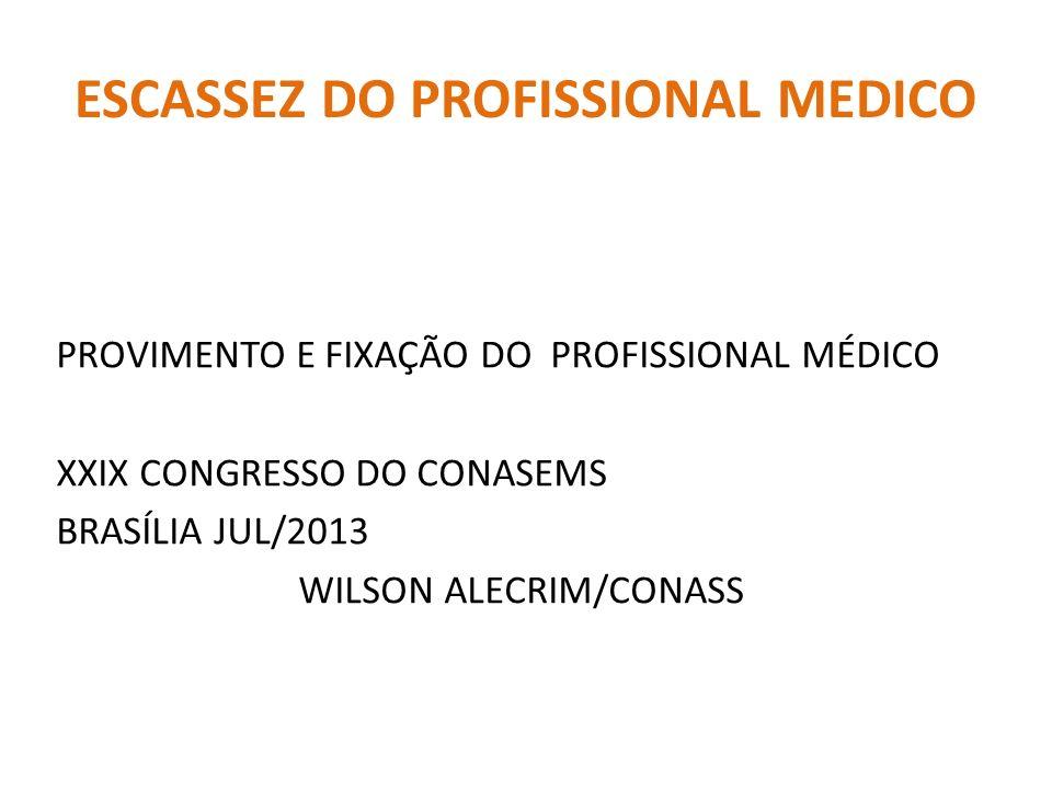 ESCASSEZ DO PROFISSIONAL MEDICO