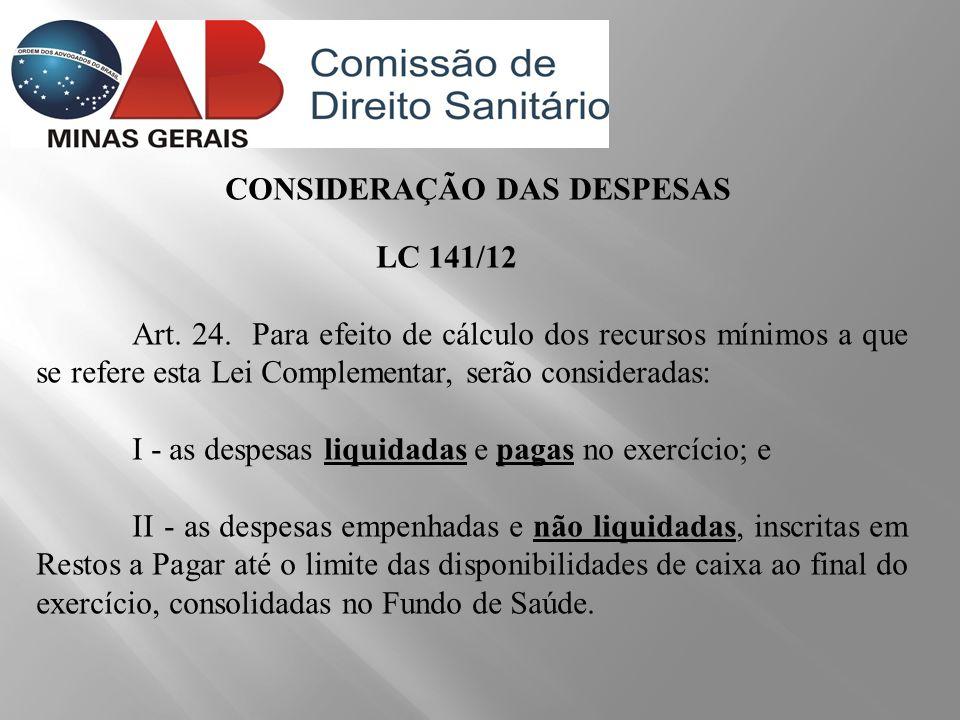 CONSIDERAÇÃO DAS DESPESAS