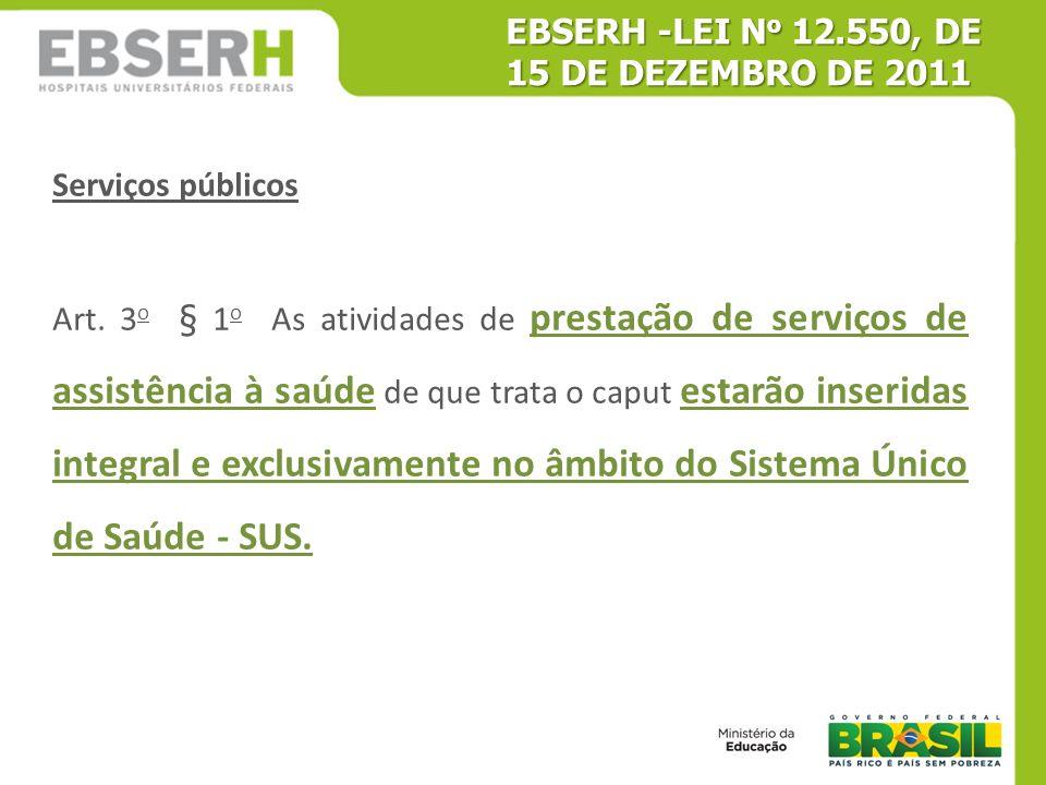 EBSERH -LEI No 12.550, DE 15 DE DEZEMBRO DE 2011
