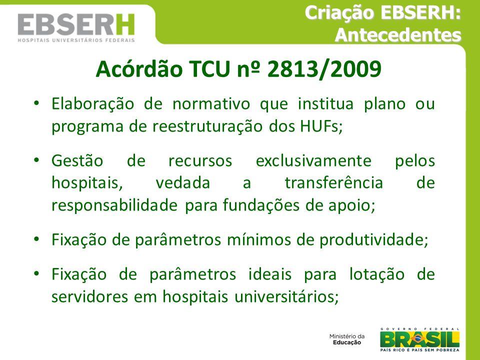 Acórdão TCU nº 2813/2009 Criação EBSERH: Antecedentes
