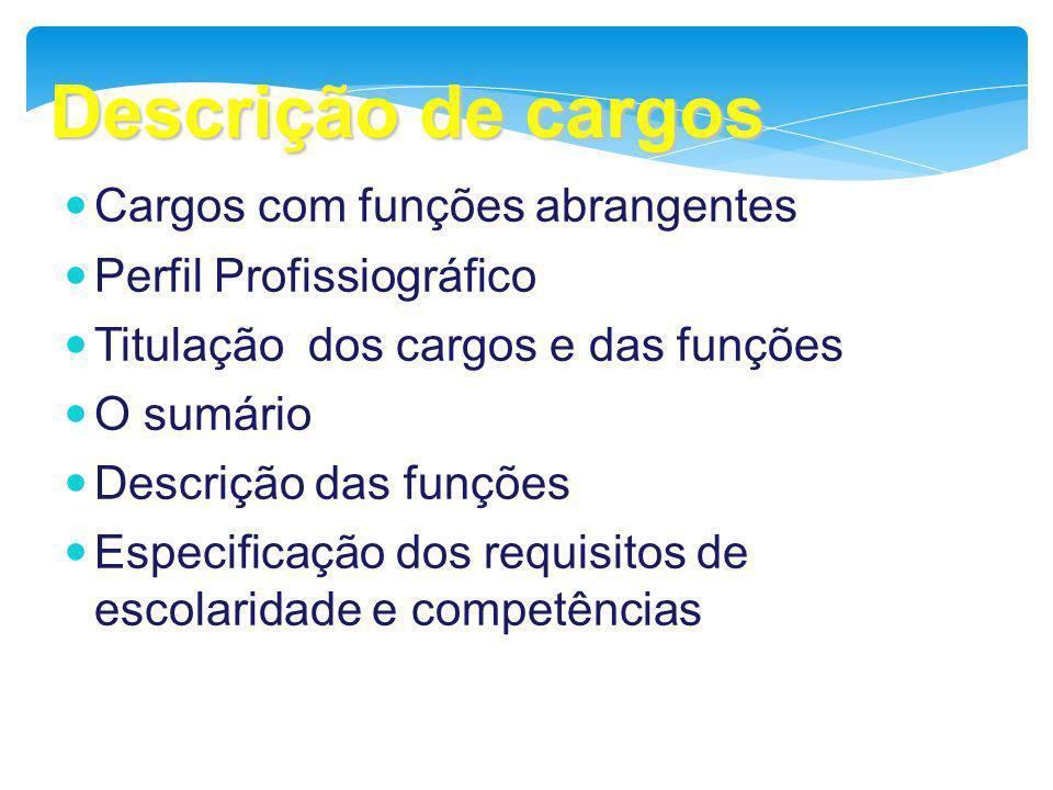 Descrição de cargos Cargos com funções abrangentes