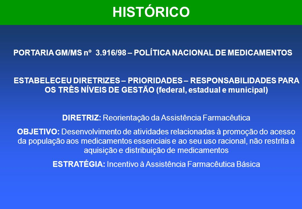 HISTÓRICO PORTARIA GM/MS nº 3.916/98 – POLÍTICA NACIONAL DE MEDICAMENTOS.