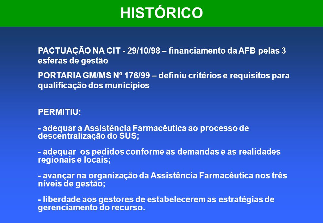 HISTÓRICO PACTUAÇÃO NA CIT - 29/10/98 – financiamento da AFB pelas 3 esferas de gestão.