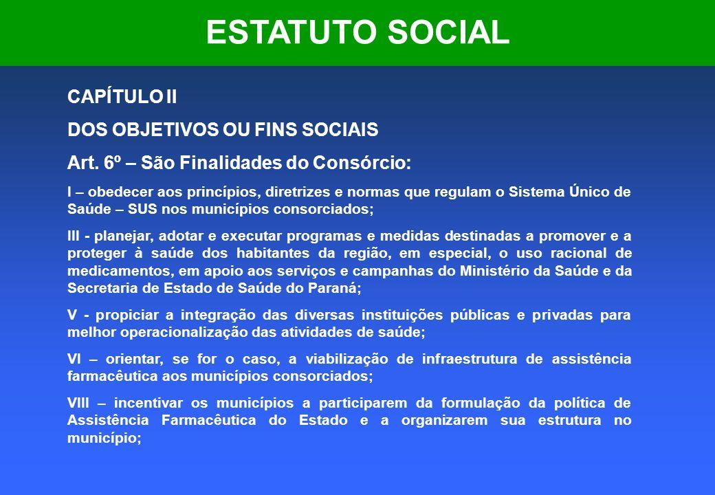 ESTATUTO SOCIAL CAPÍTULO II DOS OBJETIVOS OU FINS SOCIAIS