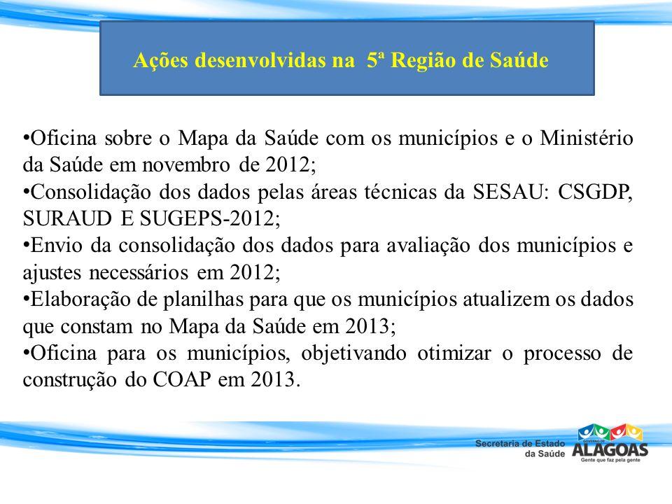 Oficina sobre o Mapa da Saúde com os municípios e o Ministério da Saúde em novembro de 2012;