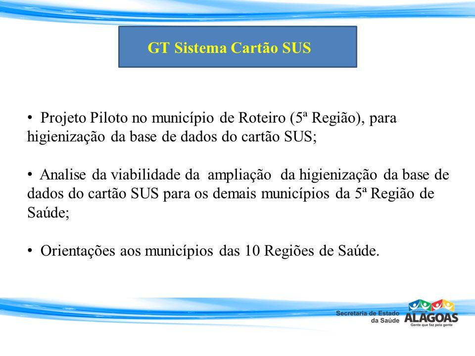 GT Sistema Cartão SUS Projeto Piloto no município de Roteiro (5ª Região), para higienização da base de dados do cartão SUS;