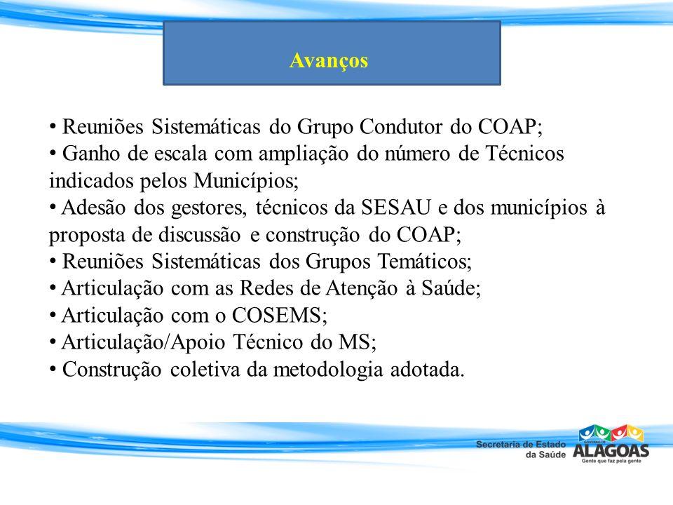 Avanços Reuniões Sistemáticas do Grupo Condutor do COAP; Ganho de escala com ampliação do número de Técnicos indicados pelos Municípios;