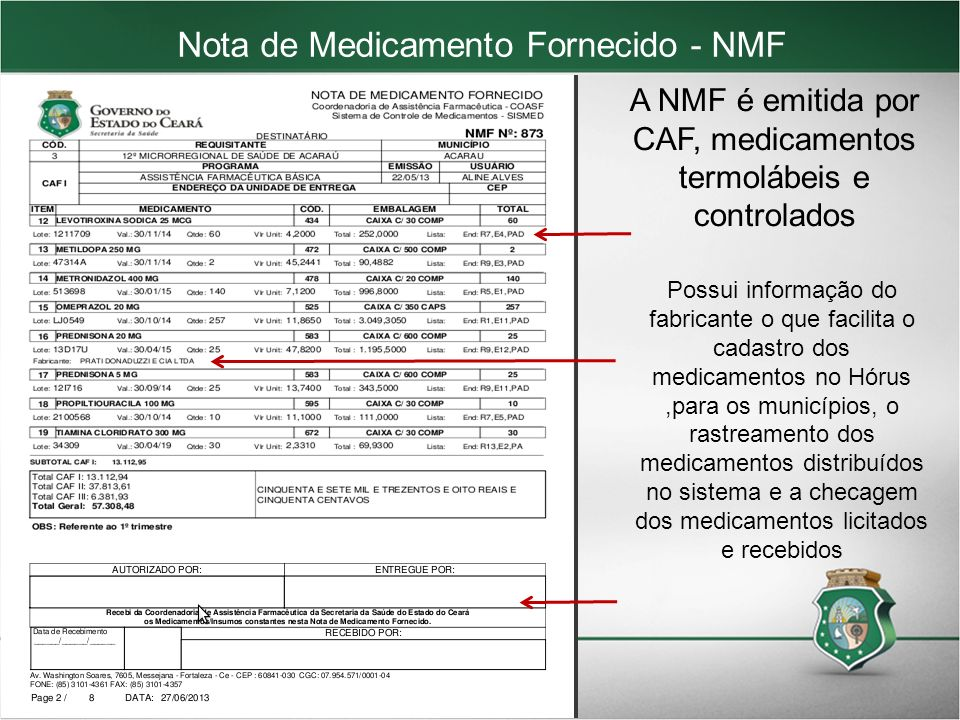 Nota de Medicamento Fornecido - NMF
