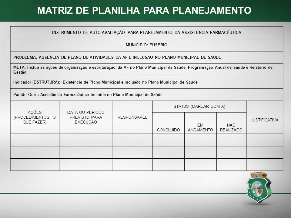 MATRIZ DE PLANILHA PARA PLANEJAMENTO