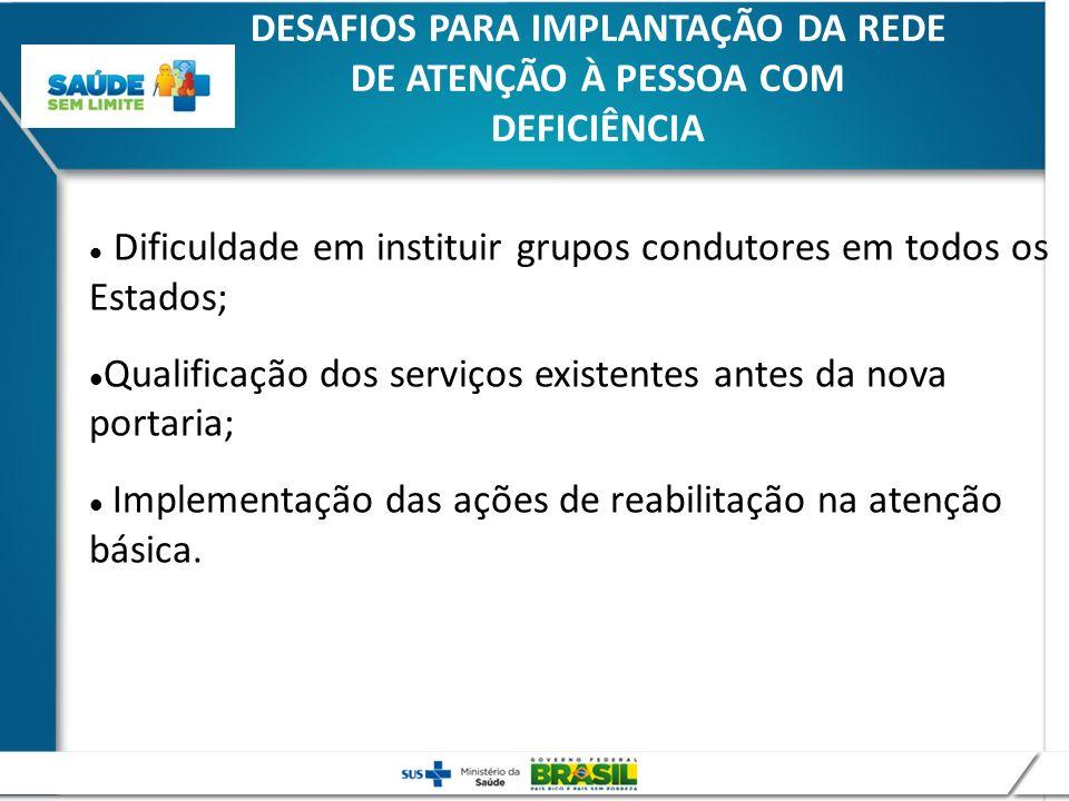 DESAFIOS PARA IMPLANTAÇÃO DA REDE DE ATENÇÃO À PESSOA COM DEFICIÊNCIA