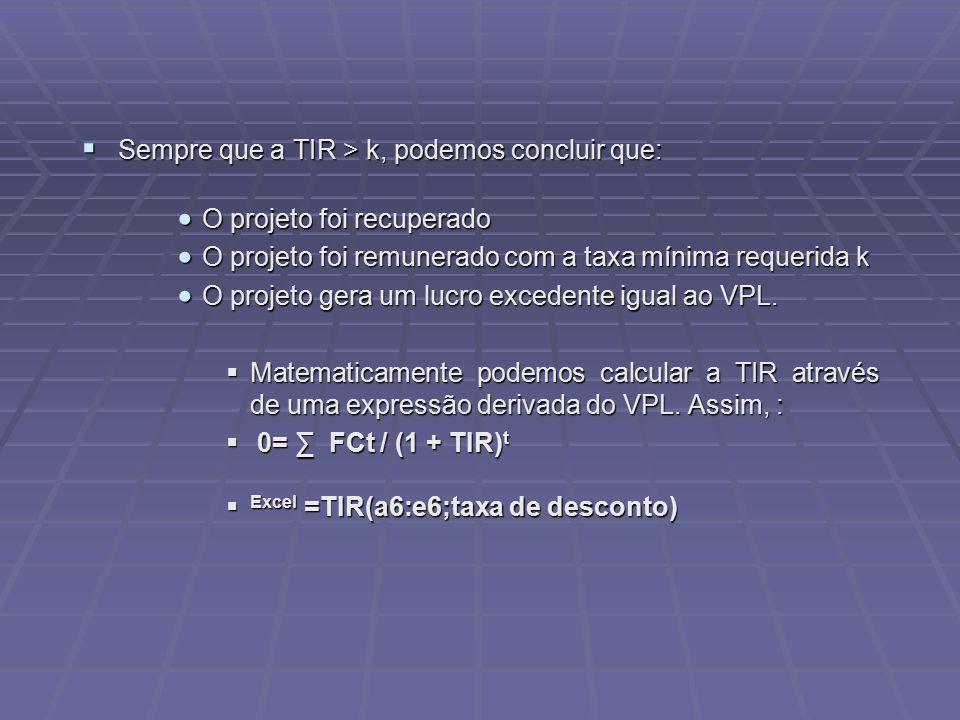 Sempre que a TIR > k, podemos concluir que: