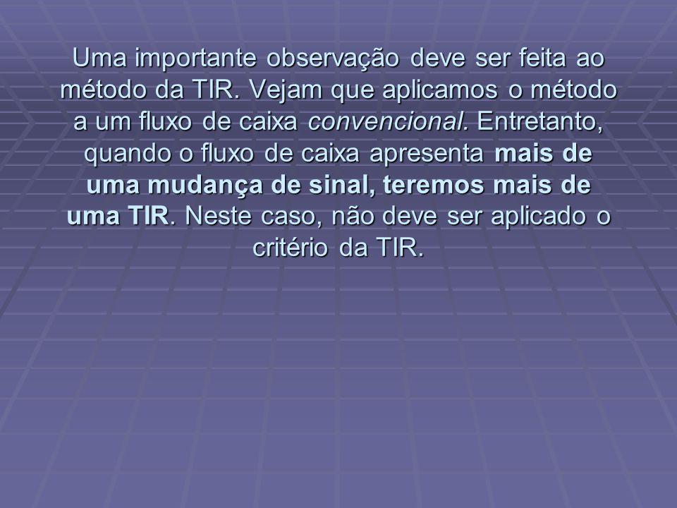 Uma importante observação deve ser feita ao método da TIR