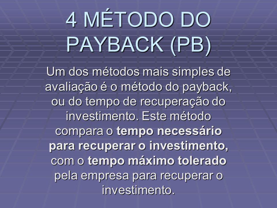 4 MÉTODO DO PAYBACK (PB)