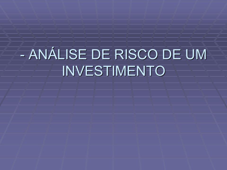 - ANÁLISE DE RISCO DE UM INVESTIMENTO