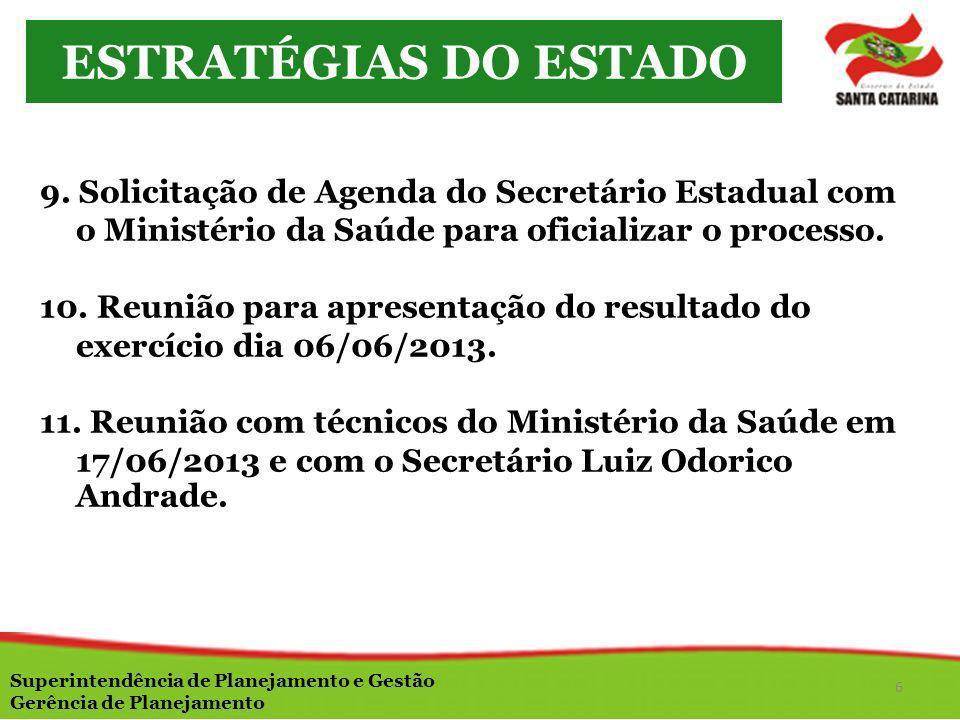 ESTRATÉGIAS DO ESTADO9. Solicitação de Agenda do Secretário Estadual com o Ministério da Saúde para oficializar o processo.