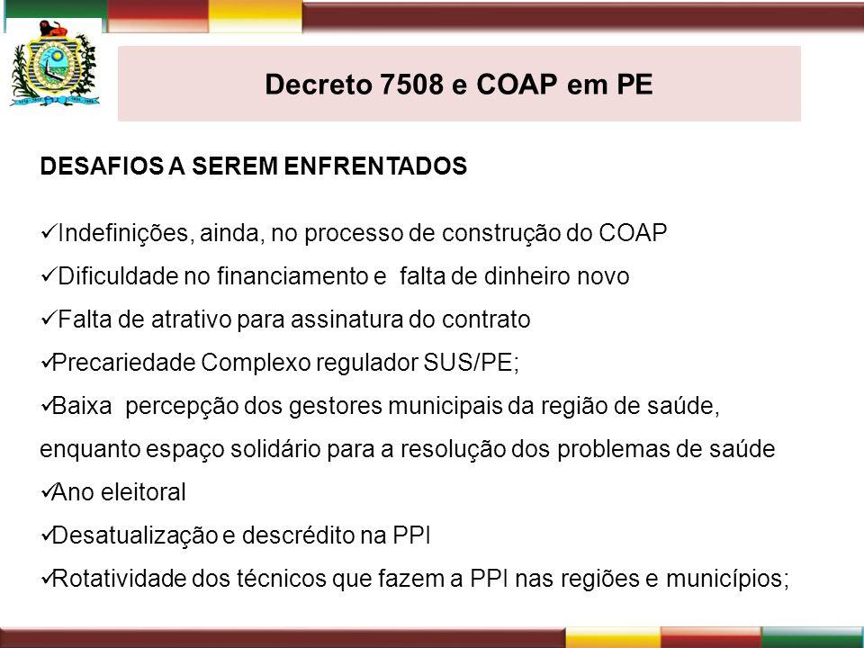 Decreto 7508 e COAP em PE DESAFIOS A SEREM ENFRENTADOS