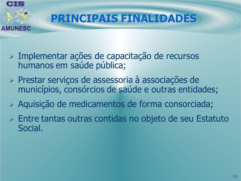 PRINCIPAIS FINALIDADES