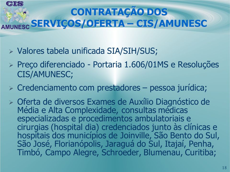 CONTRATAÇÃO DOS SERVIÇOS/OFERTA – CIS/AMUNESC