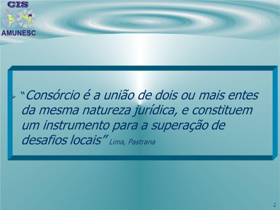 Consórcio é a união de dois ou mais entes da mesma natureza jurídica, e constituem um instrumento para a superação de desafios locais Lima, Pastrana