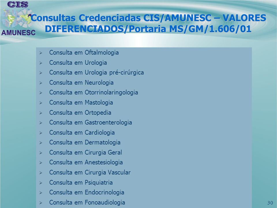 Consultas Credenciadas CIS/AMUNESC – VALORES DIFERENCIADOS/Portaria MS/GM/1.606/01