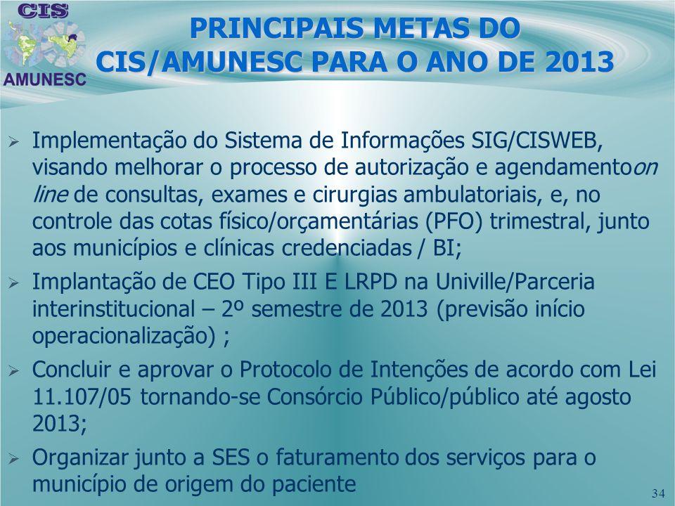 PRINCIPAIS METAS DO CIS/AMUNESC PARA O ANO DE 2013