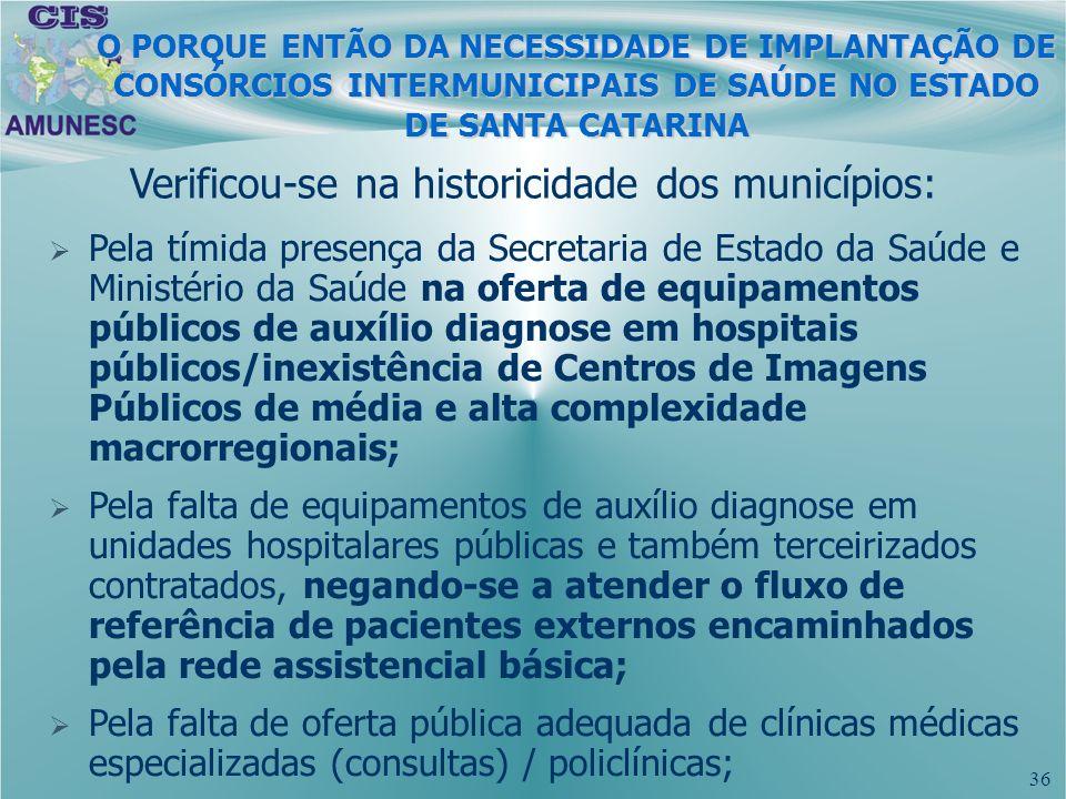 Verificou-se na historicidade dos municípios: