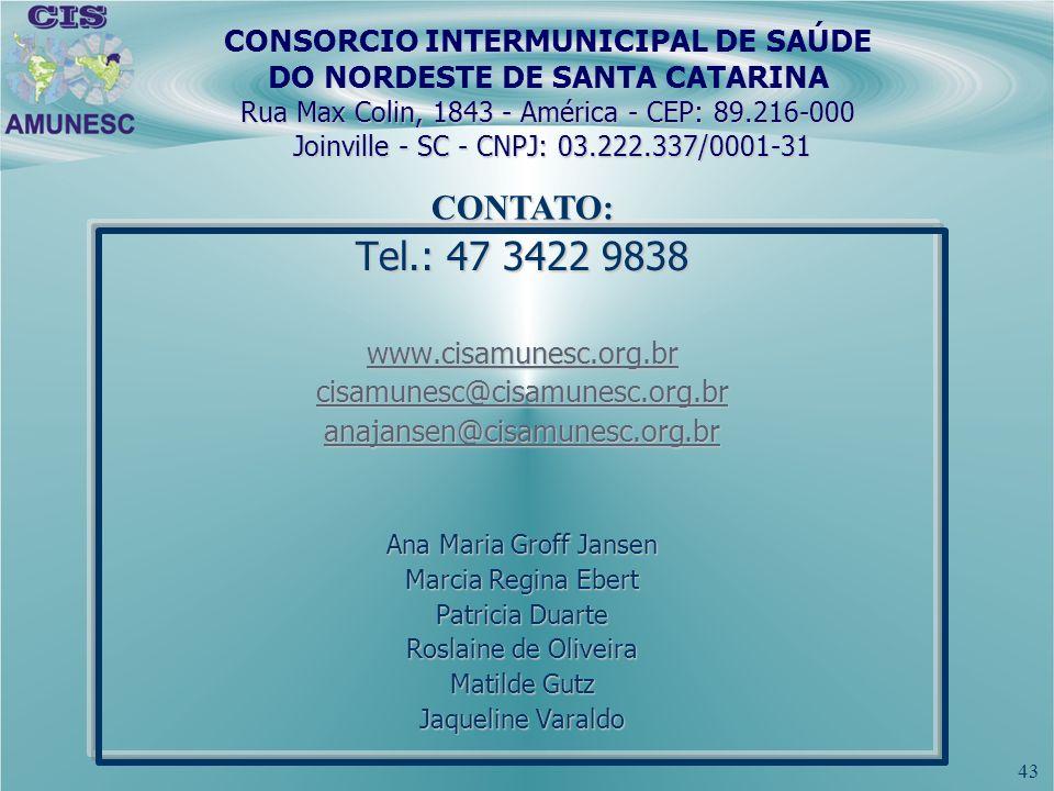 CONSORCIO INTERMUNICIPAL DE SAÚDE DO NORDESTE DE SANTA CATARINA Rua Max Colin, 1843 - América - CEP: 89.216-000 Joinville - SC - CNPJ: 03.222.337/0001-31