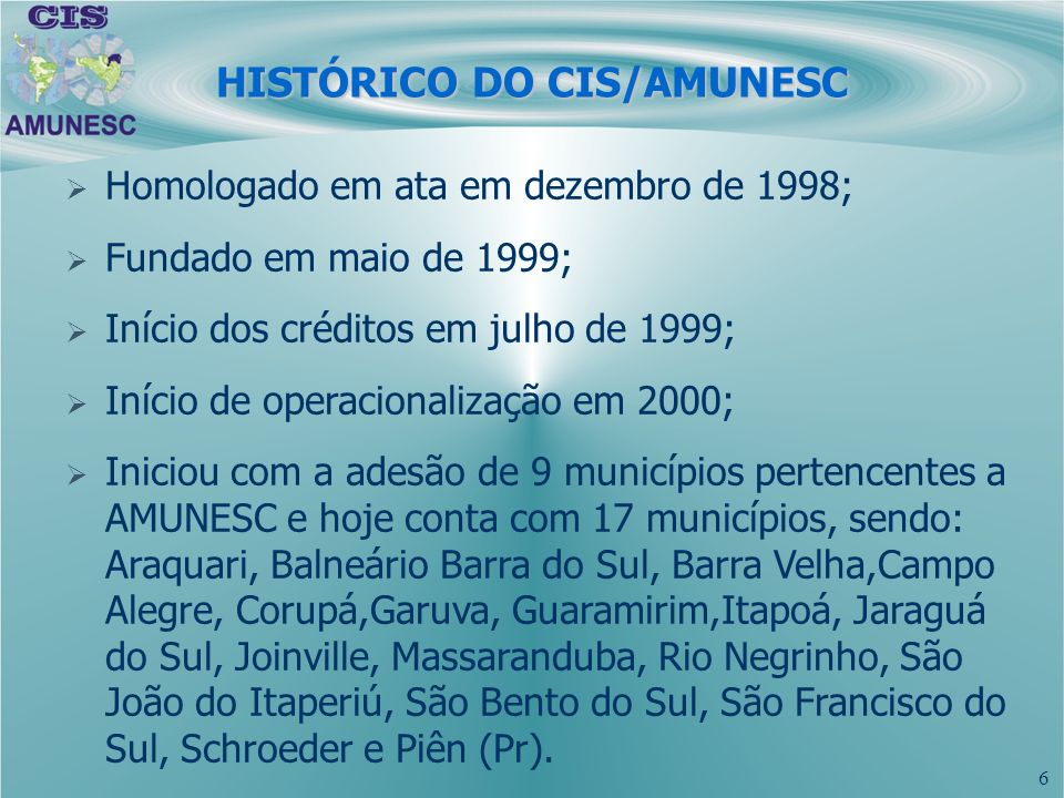 HISTÓRICO DO CIS/AMUNESC