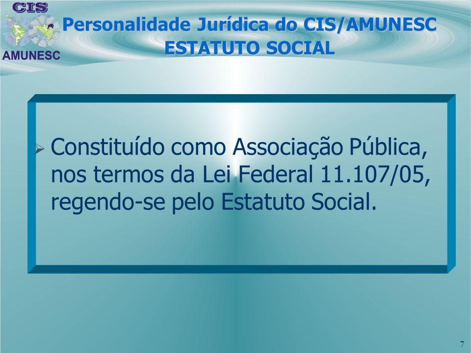 Personalidade Jurídica do CIS/AMUNESC ESTATUTO SOCIAL