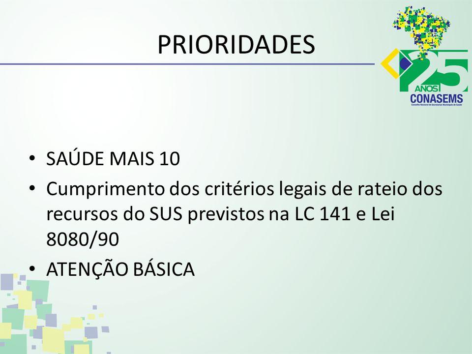 PRIORIDADES SAÚDE MAIS 10
