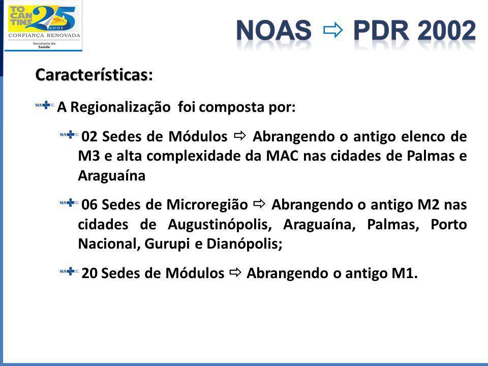 NOAS  PDR 2002 Características: A Regionalização foi composta por: