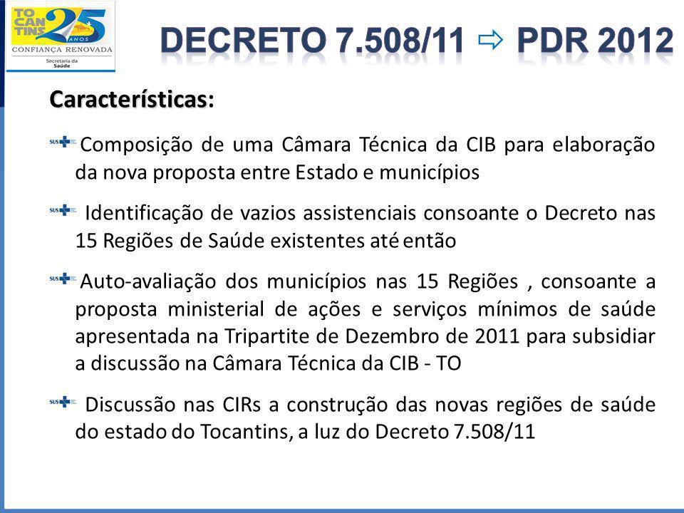 DECRETO 7.508/11  PDR 2012 Características: