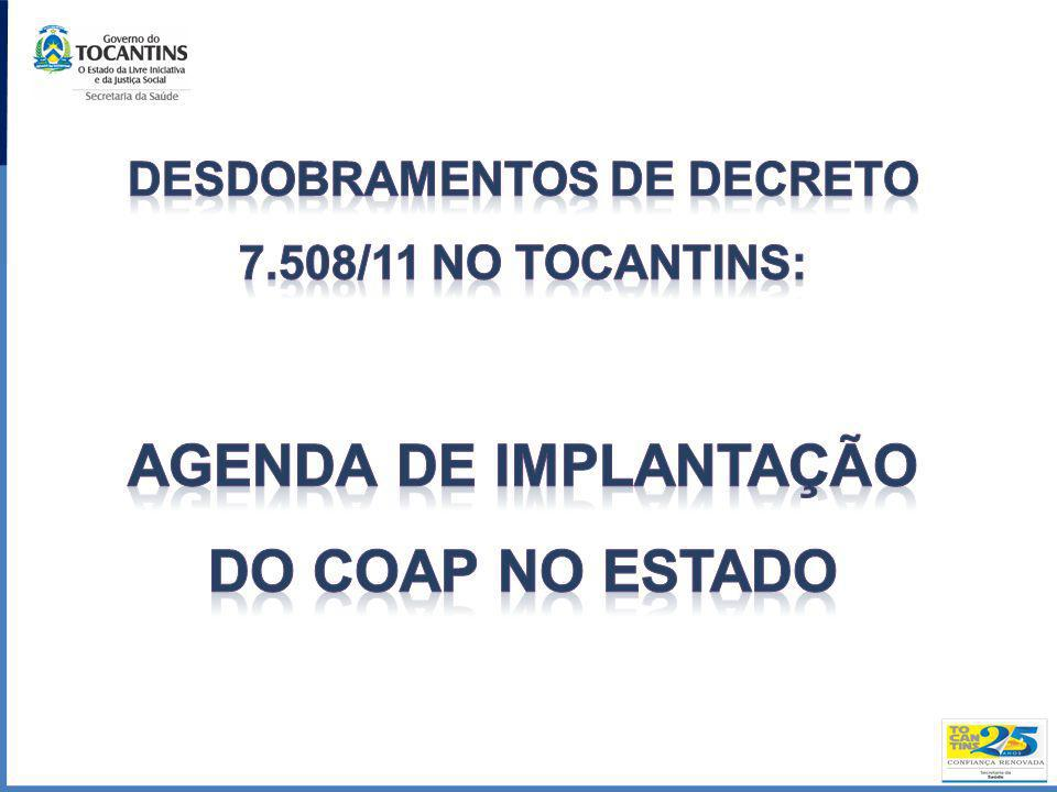 agenda de implantação do coap no estado