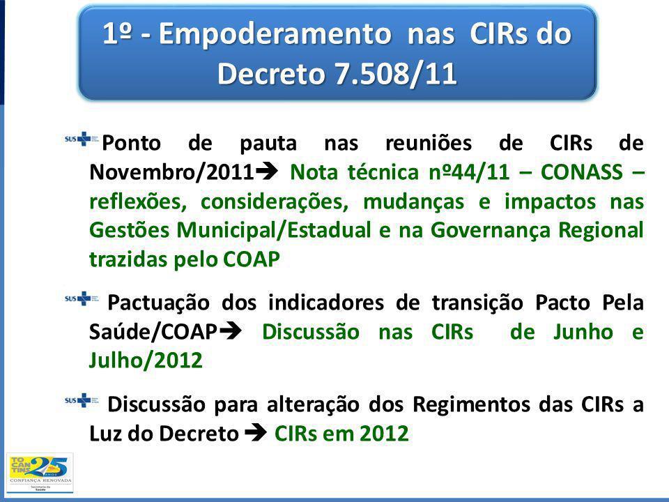 1º - Empoderamento nas CIRs do Decreto 7.508/11