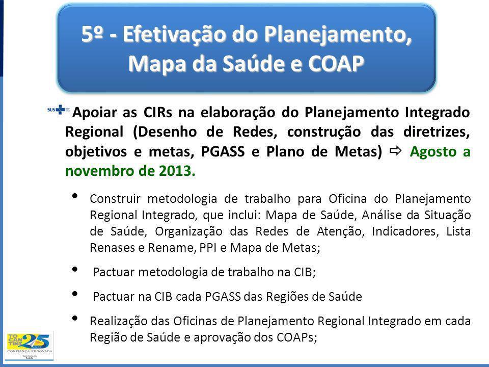 5º - Efetivação do Planejamento, Mapa da Saúde e COAP