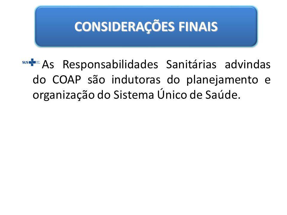 CONSIDERAÇÕES FINAIS As Responsabilidades Sanitárias advindas do COAP são indutoras do planejamento e organização do Sistema Único de Saúde.