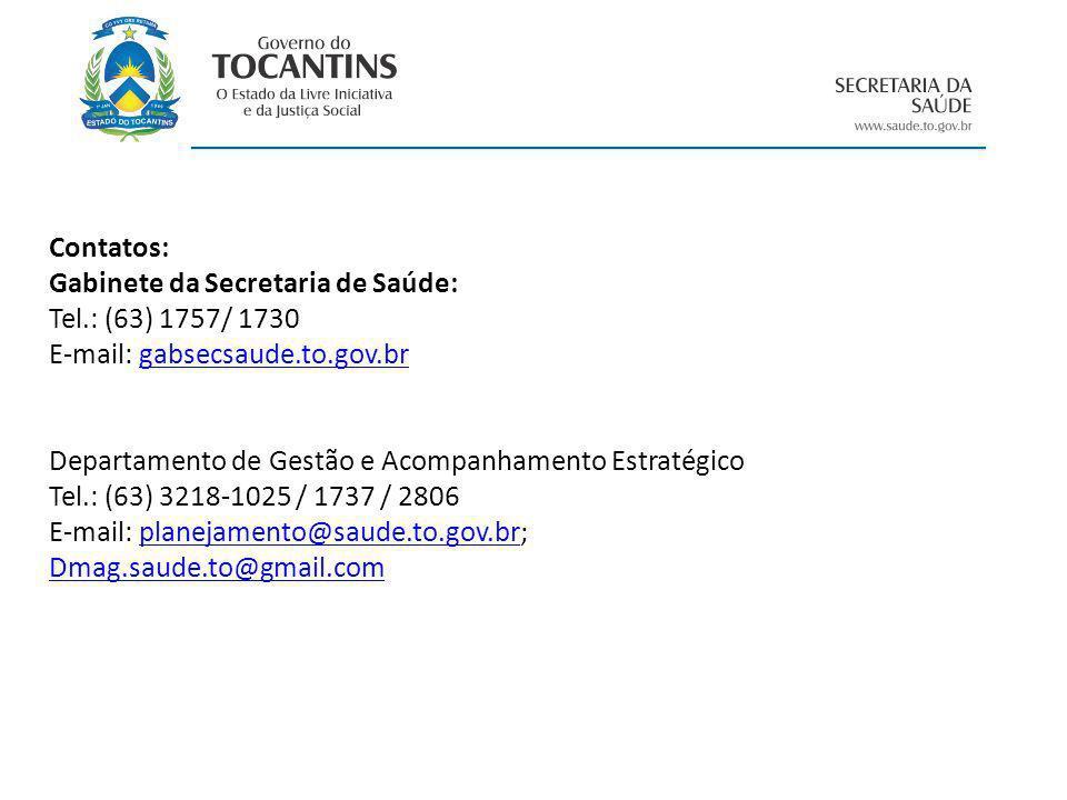 Contatos: Gabinete da Secretaria de Saúde: Tel.: (63) 1757/ 1730. E-mail: gabsecsaude.to.gov.br.