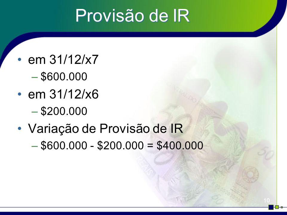 Provisão de IR em 31/12/x7 em 31/12/x6 Variação de Provisão de IR