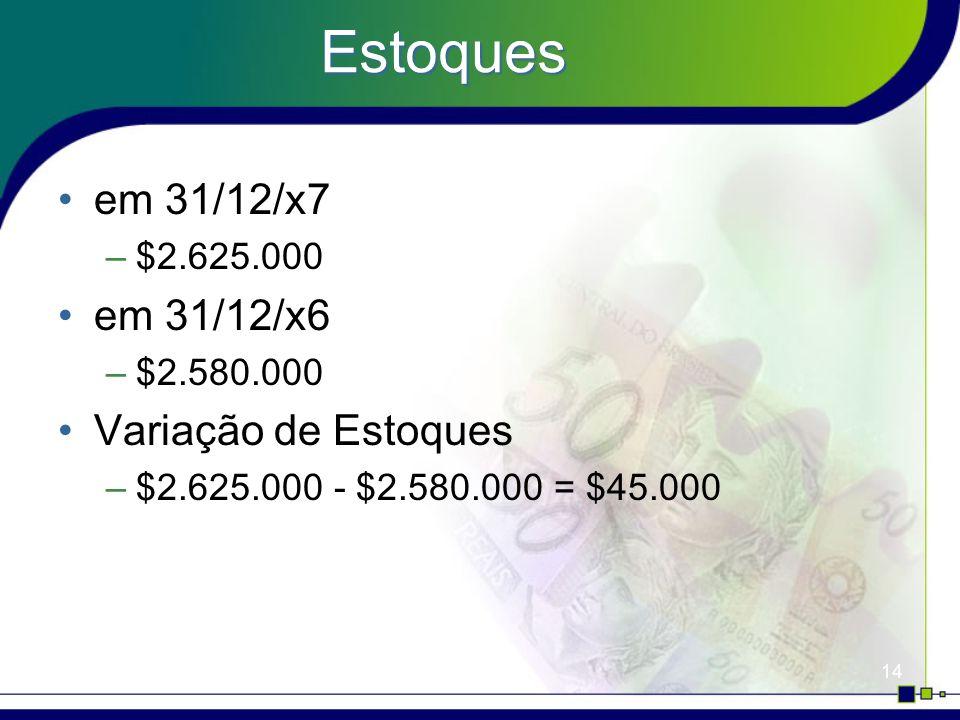 Estoques em 31/12/x7 em 31/12/x6 Variação de Estoques $2.625.000