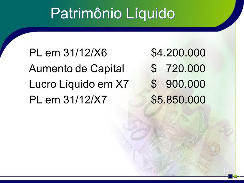 Patrimônio Líquido PL em 31/12/X6 $4.200.000
