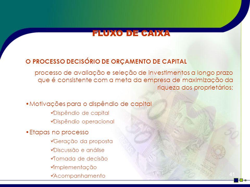FLUXO DE CAIXA O PROCESSO DECISÓRIO DE ORÇAMENTO DE CAPITAL