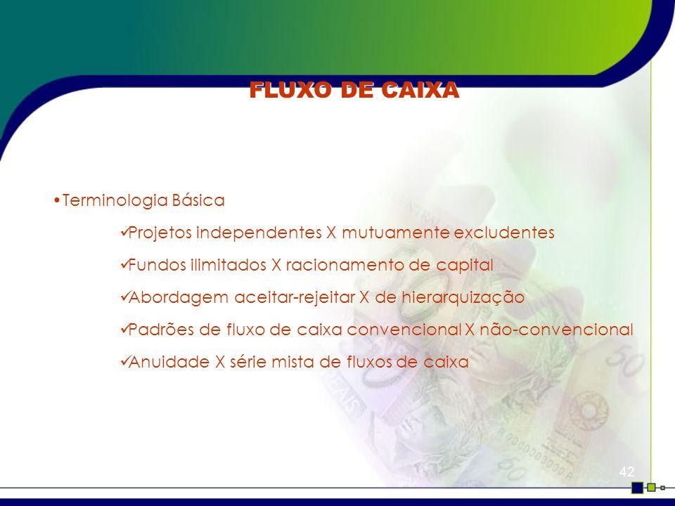 FLUXO DE CAIXA Terminologia Básica
