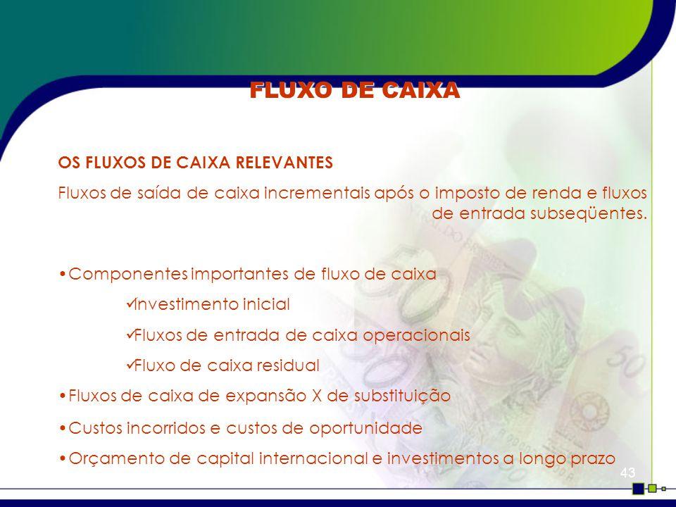 FLUXO DE CAIXA OS FLUXOS DE CAIXA RELEVANTES