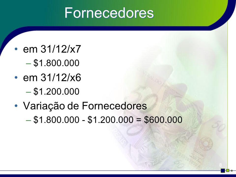 Fornecedores em 31/12/x7 em 31/12/x6 Variação de Fornecedores