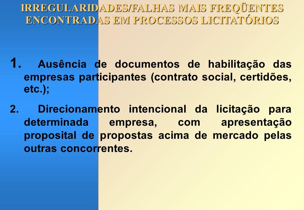 IRREGULARIDADES/FALHAS MAIS FREQÜENTES ENCONTRADAS EM PROCESSOS LICITATÓRIOS